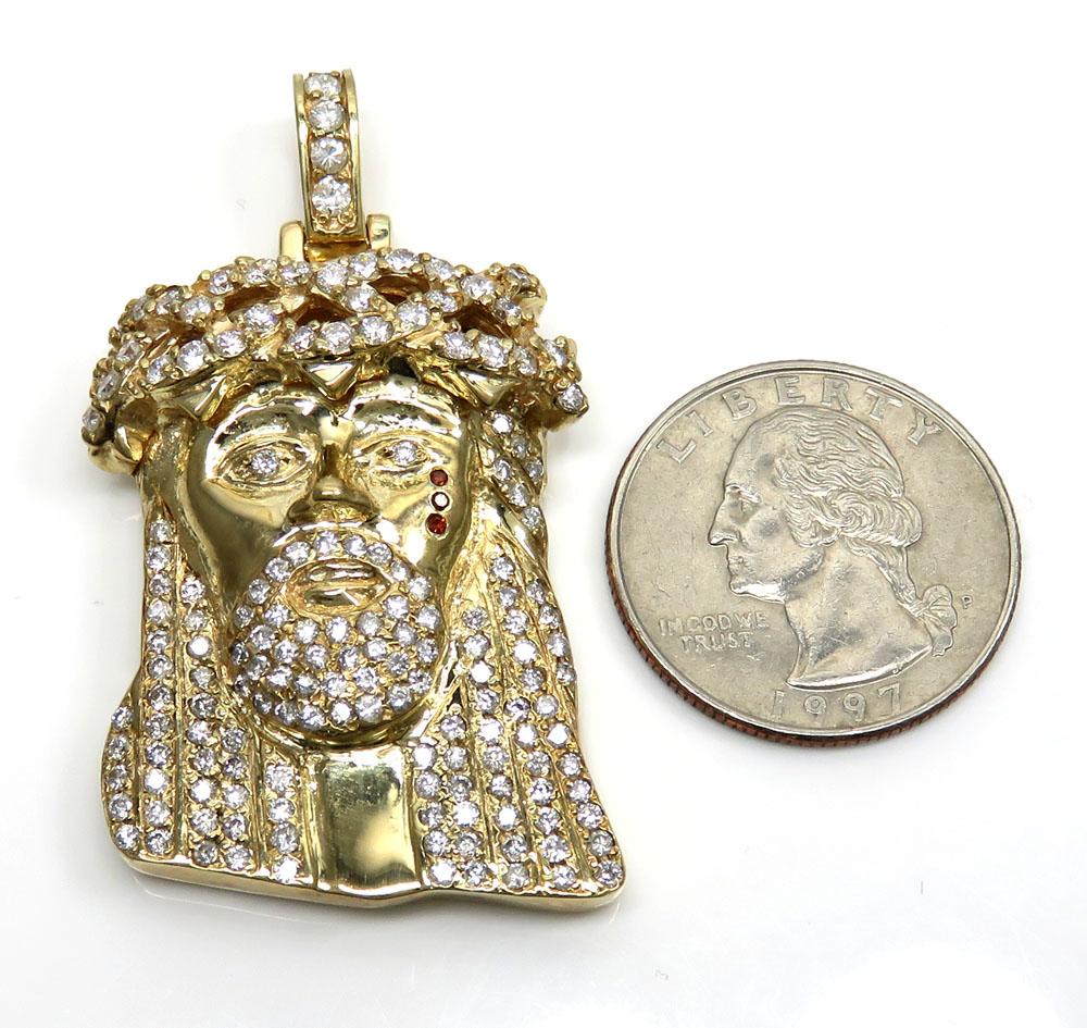 4.00ct 14k yellow gold large jesus head red tear diamond pendant