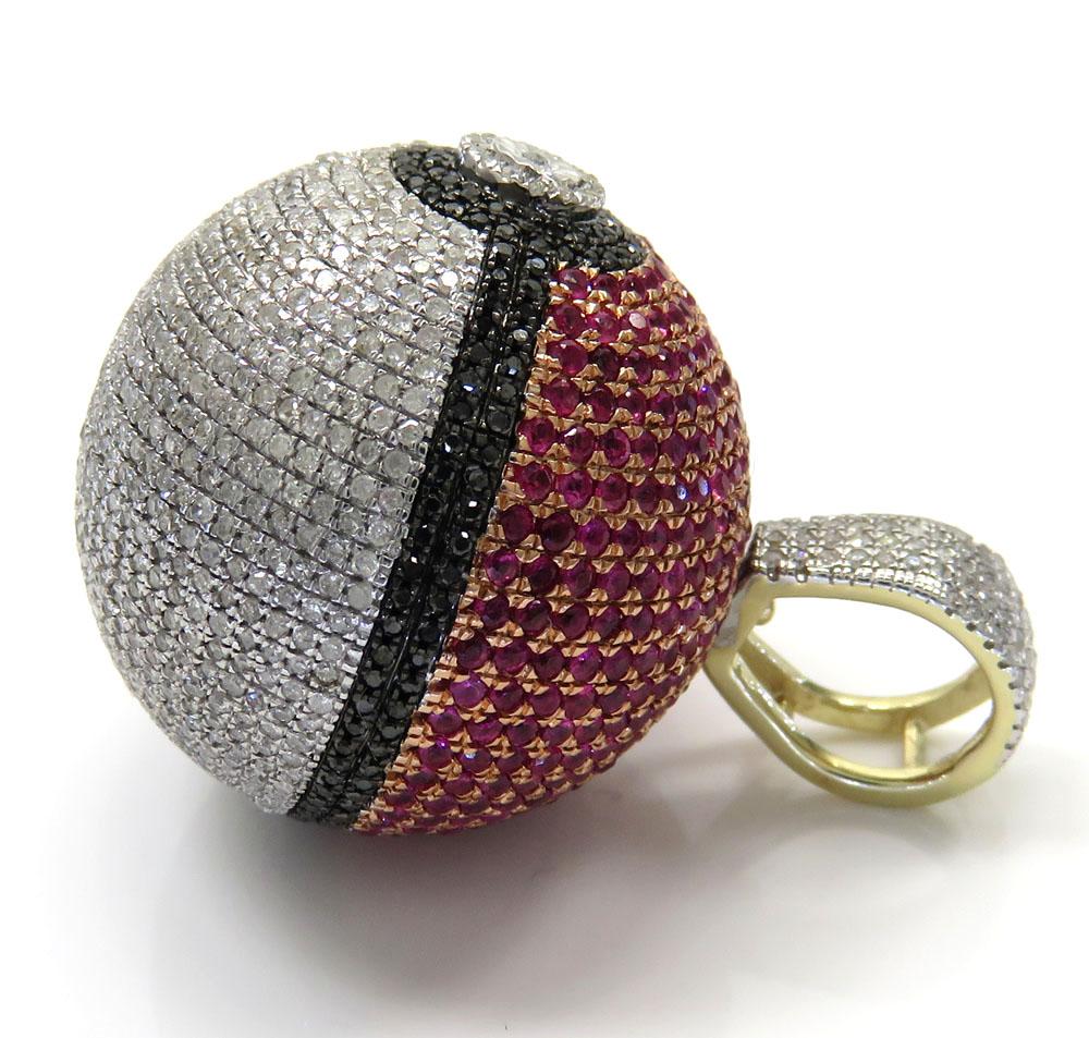 10k yellow gold iced out diamond pokeball pendant 2.19ct