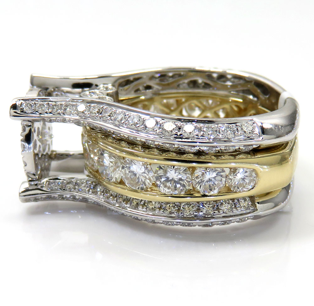 14k white and yellow gold diamond engagement ring 4.56ct