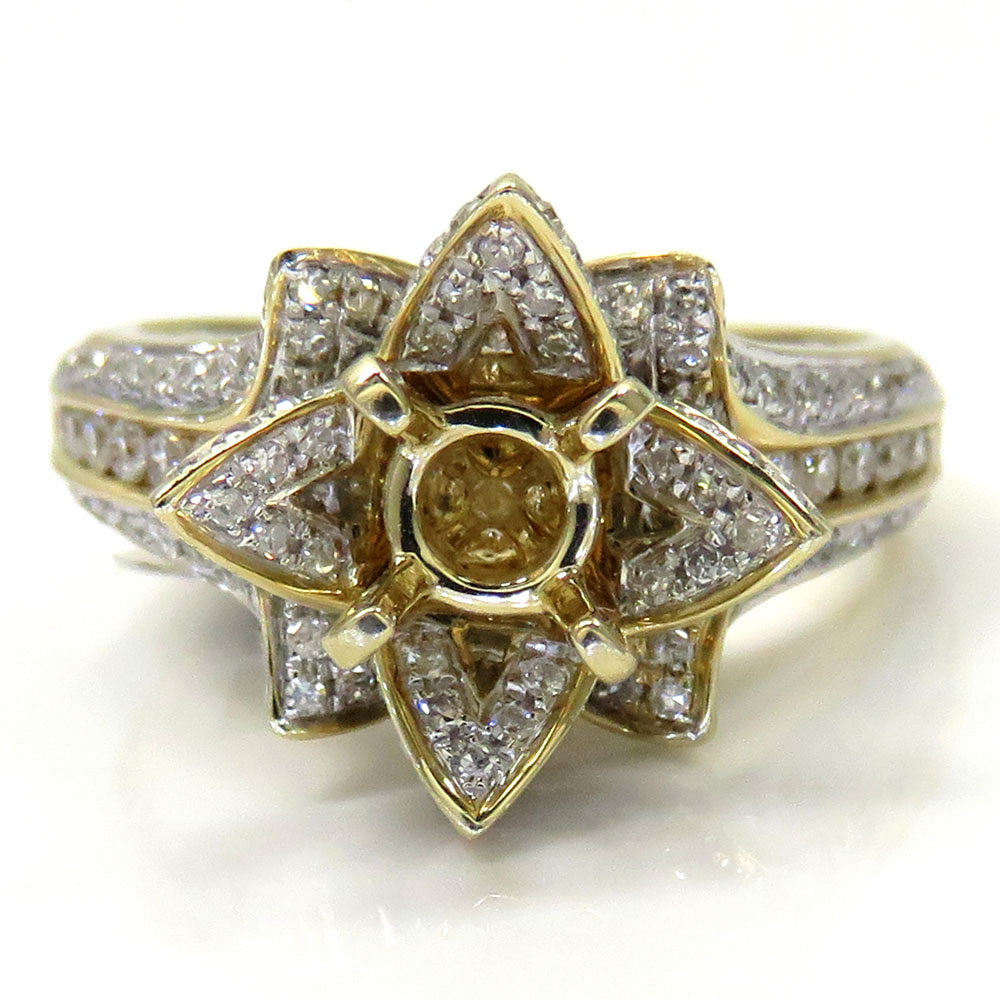 14k yellow gold semi mount diamond flower ring 0.86ct