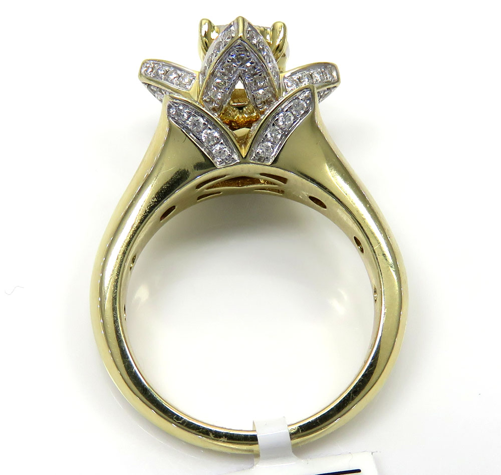 14k yellow gold flower cluster diamond engagement ring 0.94ct