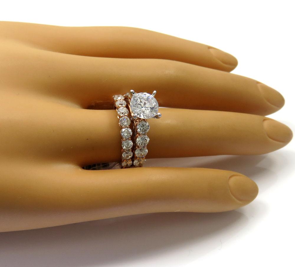 14k rose gold two row semi mount diamond engagement ring set 2.19ct