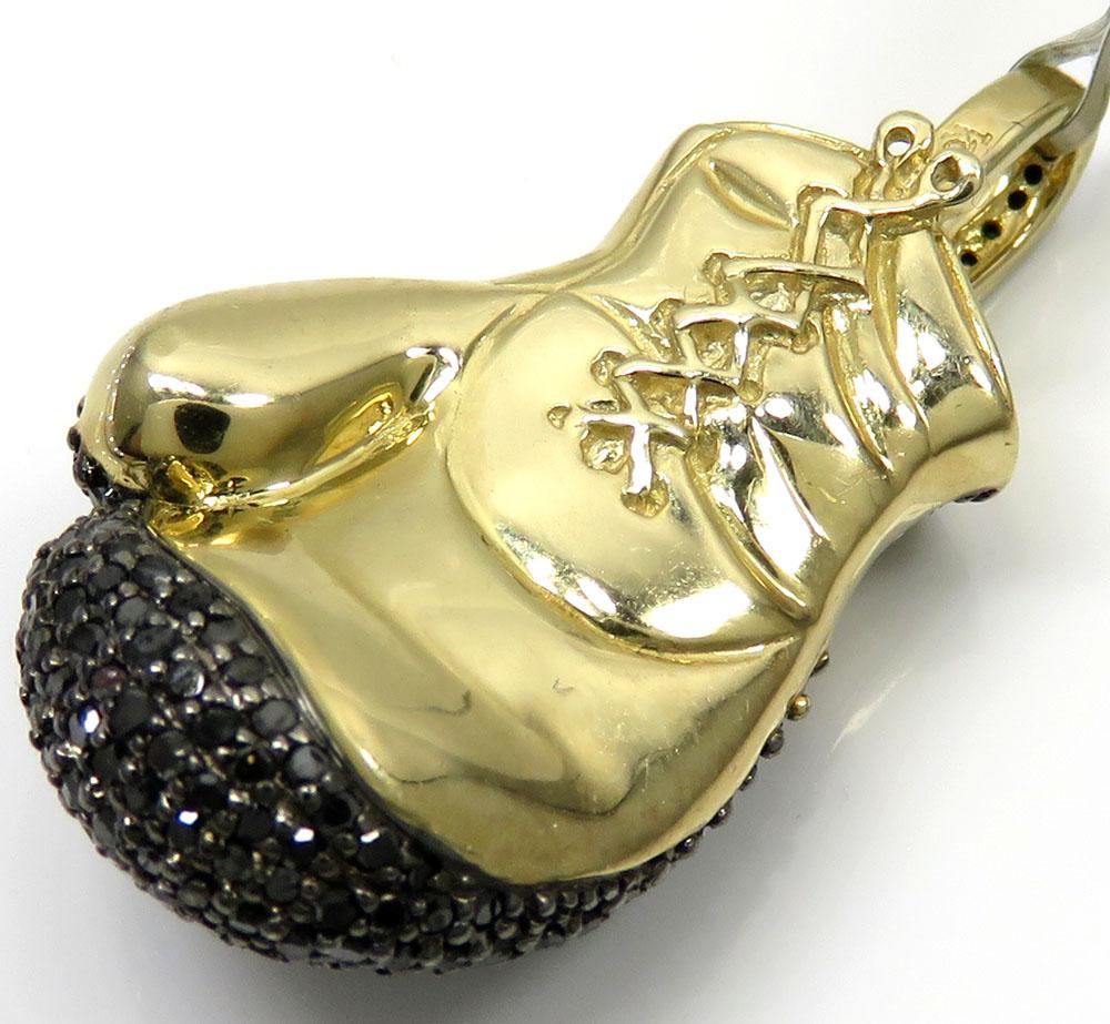 10k yellow gold black diamond boxing glove pendant 1.25ct