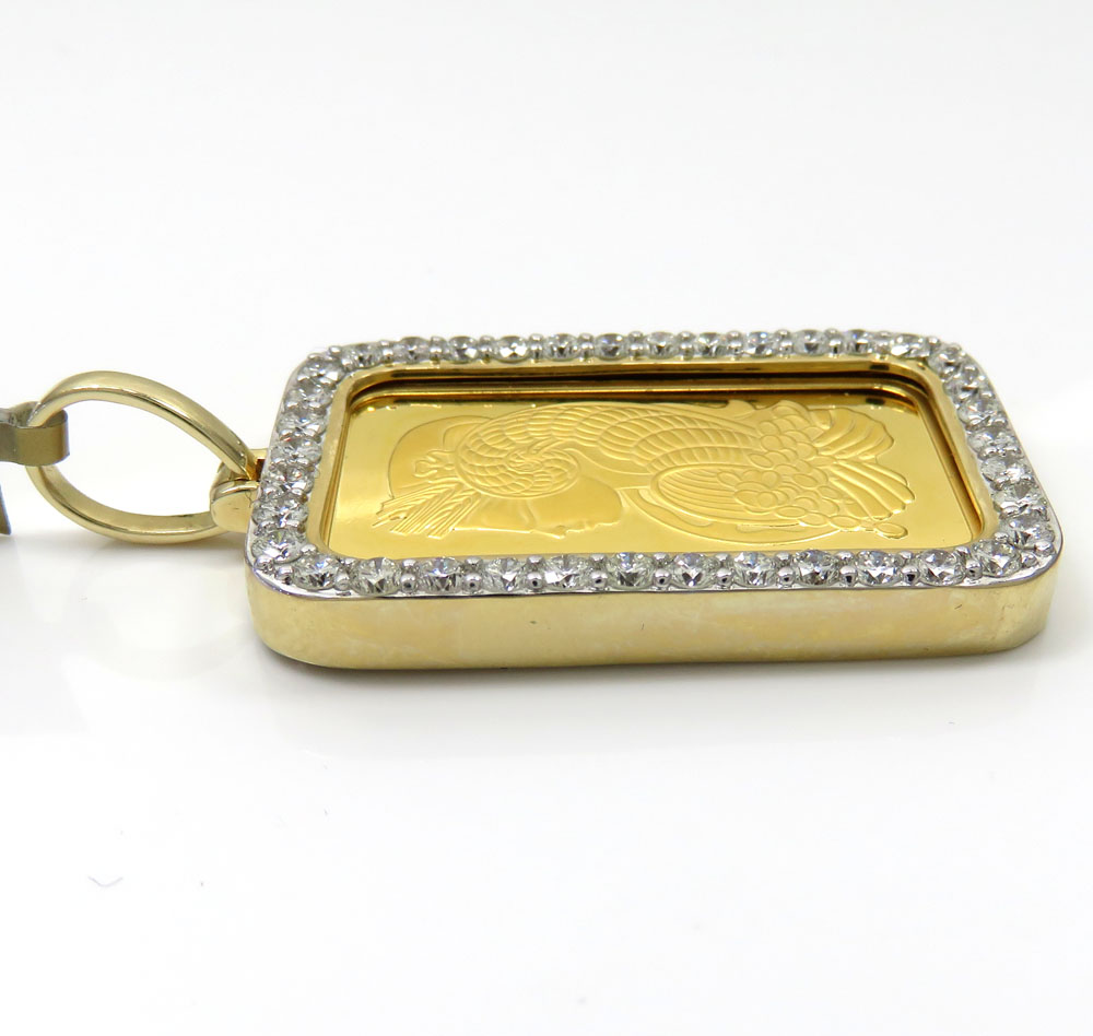 24k gold medium lady fortuna diamond pendant 2.13ct