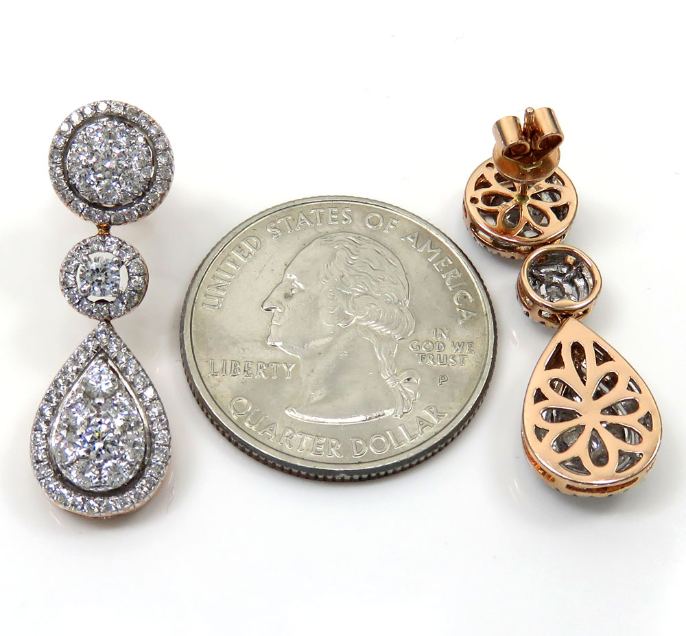 14k rose gold cluster diamond tear drop earrings 1.97ct