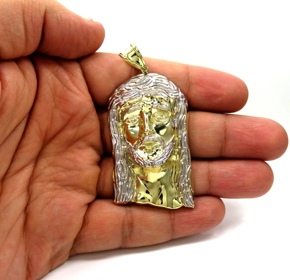 10k yellow gold two tone medium jesus piece pendant