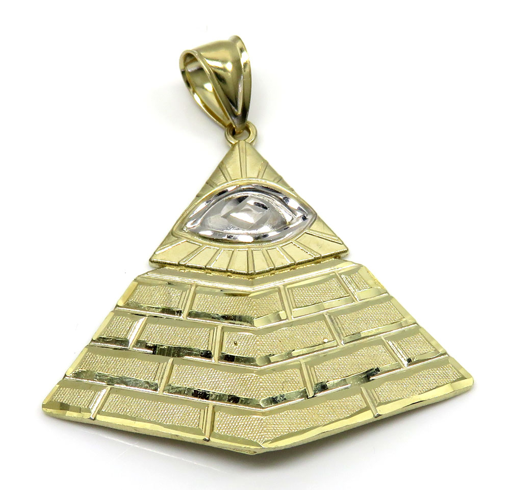10k yellow gold all seeing eye pyramid pendant