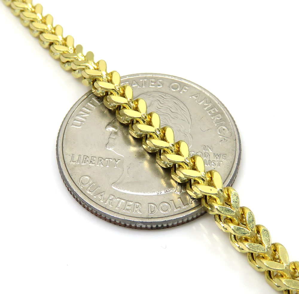 14k Yellow Gold Hollow Boxed Franco Chain 23 Inch 3 5mm
