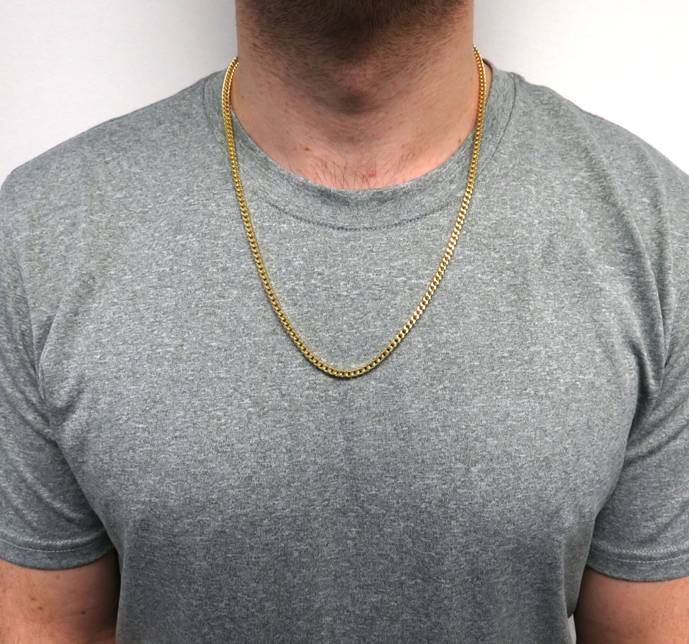 14k yellow gold hollow boxed franco chain 23 inch 3.5mm