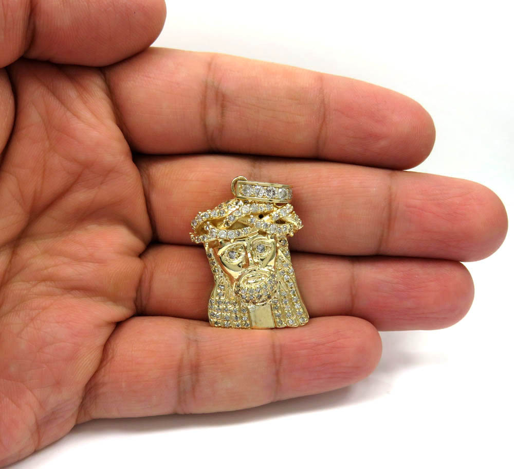 10k yellow gold medium diamond jesus piece pendant 1.75ct