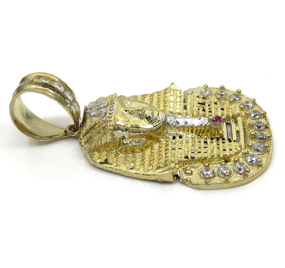 10k yellow gold medium cz king tut pharaoh head pendant 0.50ct