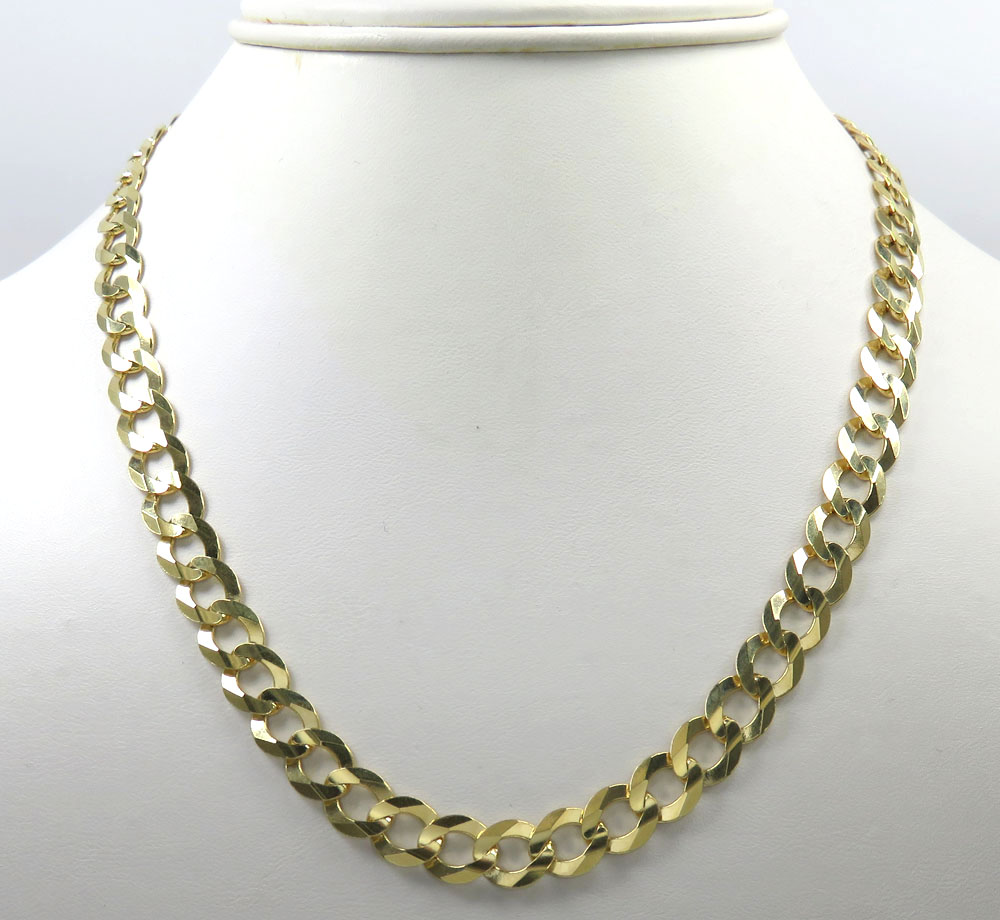 14k yellow gold solid cuban link chain 22-30 inch 8.5mm
