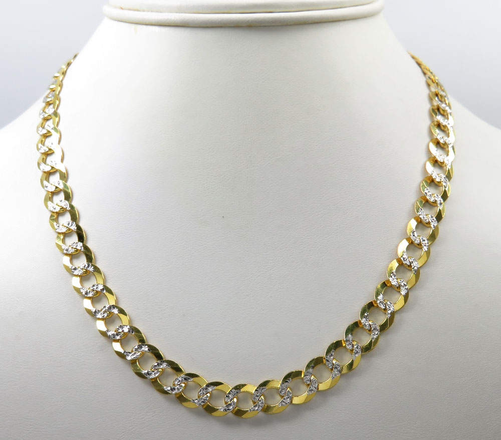 14k yellow gold diamond cut solid cuban link chain 30 inch 8.5mm