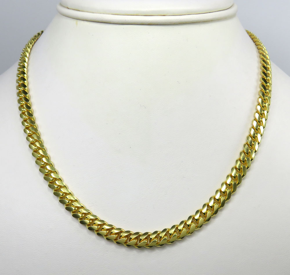 925 sterling yellow silver miami link chain 28 inch 6.4mm