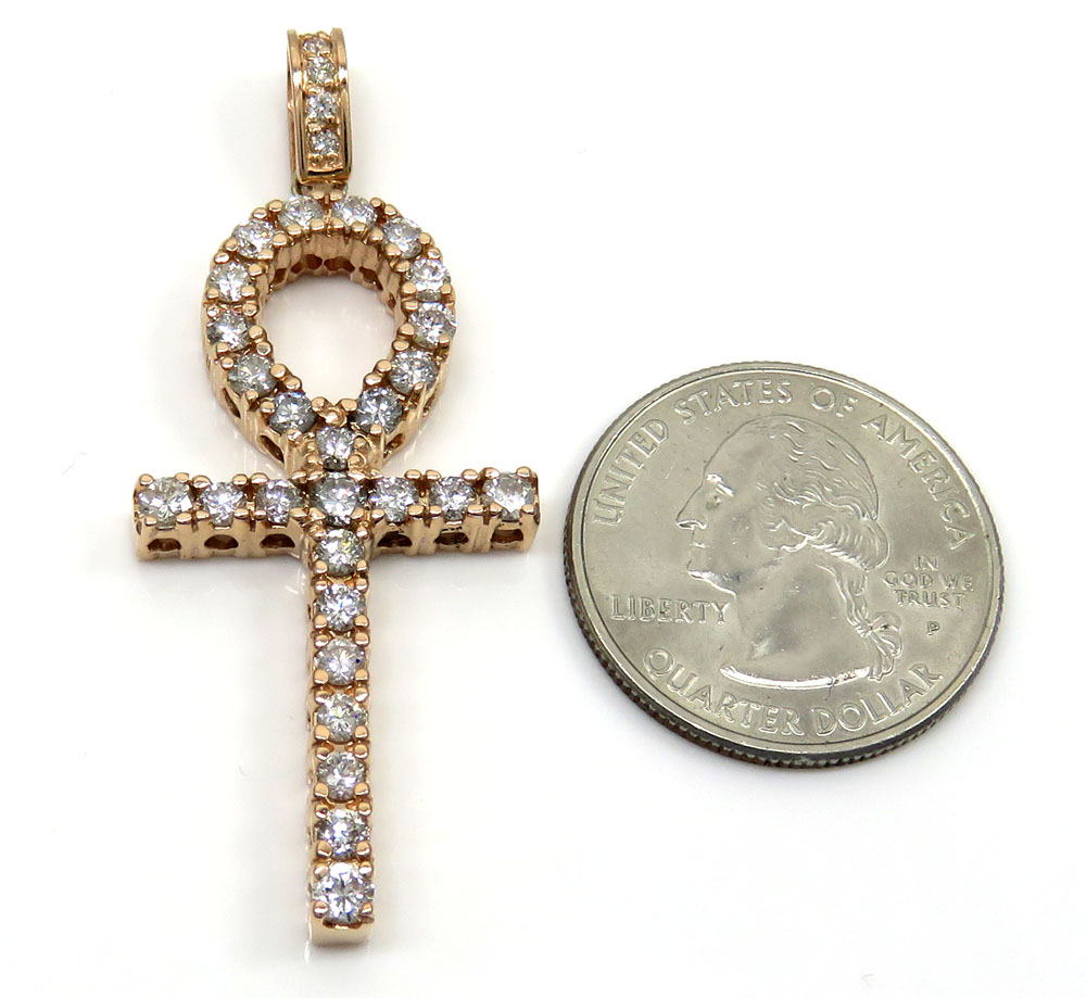14k yellow white or rose gold large cut  diamond ankh cross 1.90ct