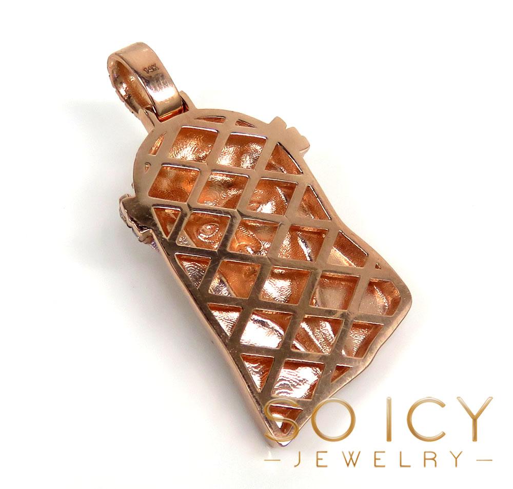 14k rose yellow or white gold medium diamond jesus piece pendant 2.25ct