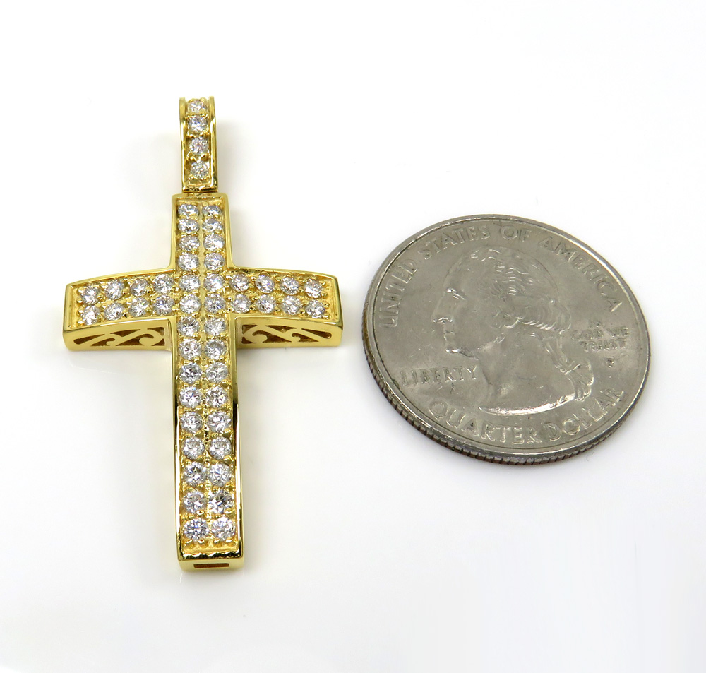 14k gold 2x2 solid full cut diamond small cross 1.15ct