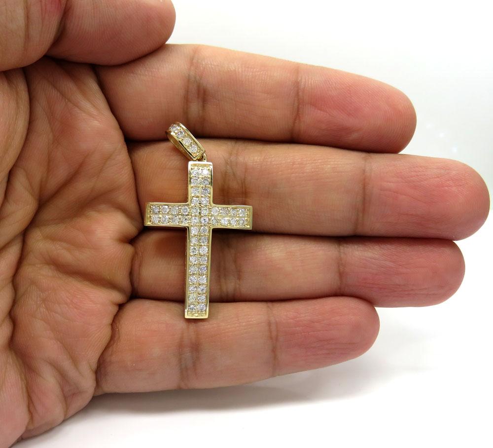14k gold 2x2 solid full cut diamond small cross 1.15ct