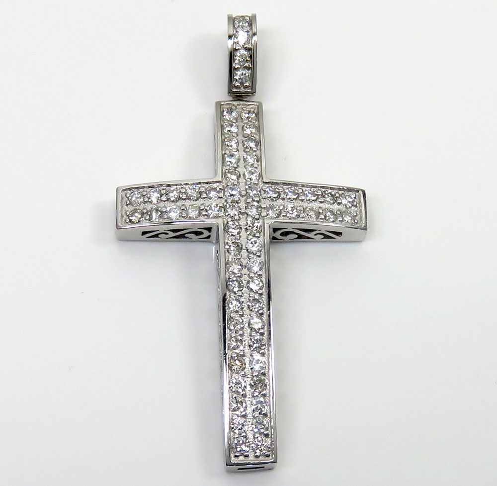 14k gold 2x2 solid full cut diamond medium cross 2.00ct