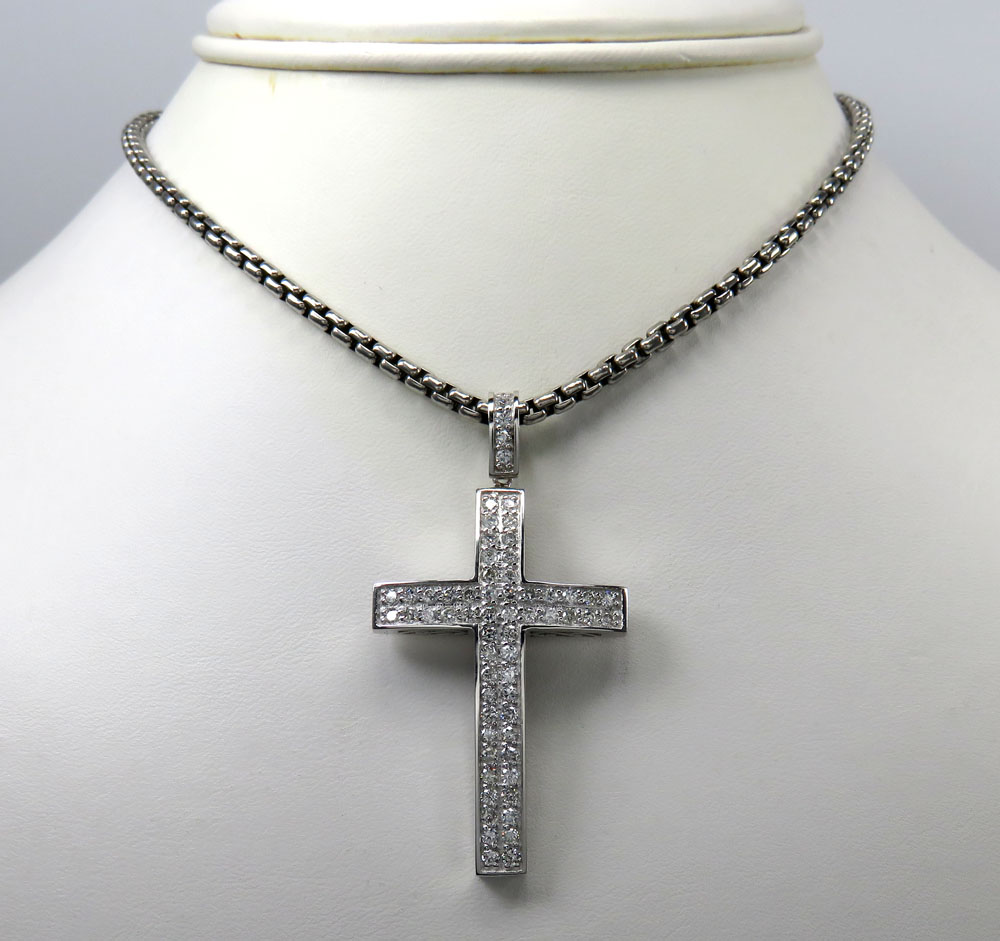14k gold 2x2 solid diamond cross 1.50ct