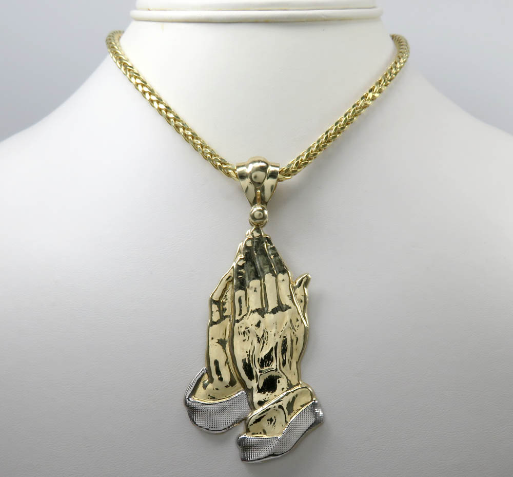 10k yellow gold large praying hands pendant