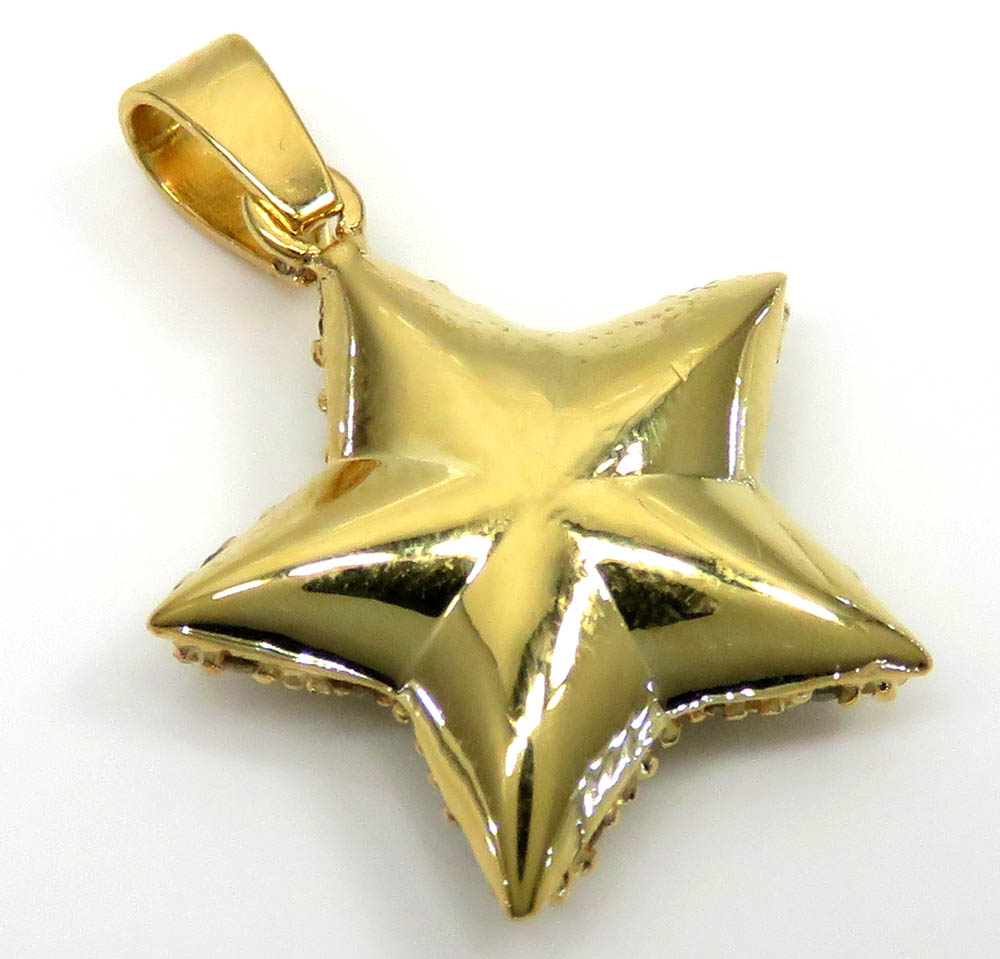 14k yellow gold diamond mario star pendant 1.20ct