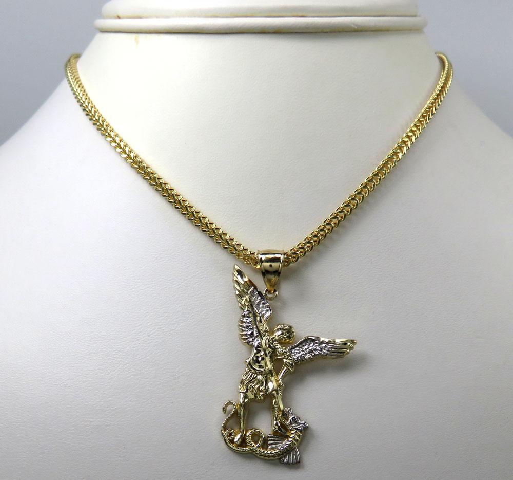 10k yellow gold small saint michaels pendant