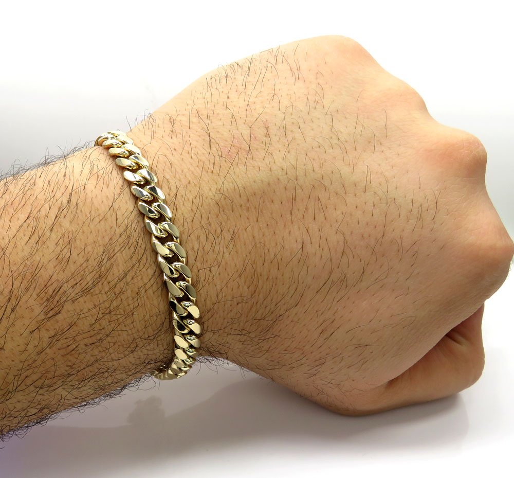 14k yellow gold solid miami link bracelet 8.50 inch 8mm