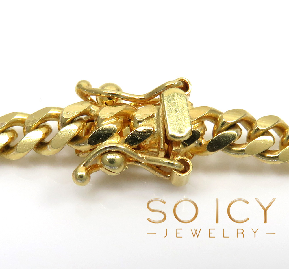 14k yellow gold solid miami link chain 22-26 inches 5mm