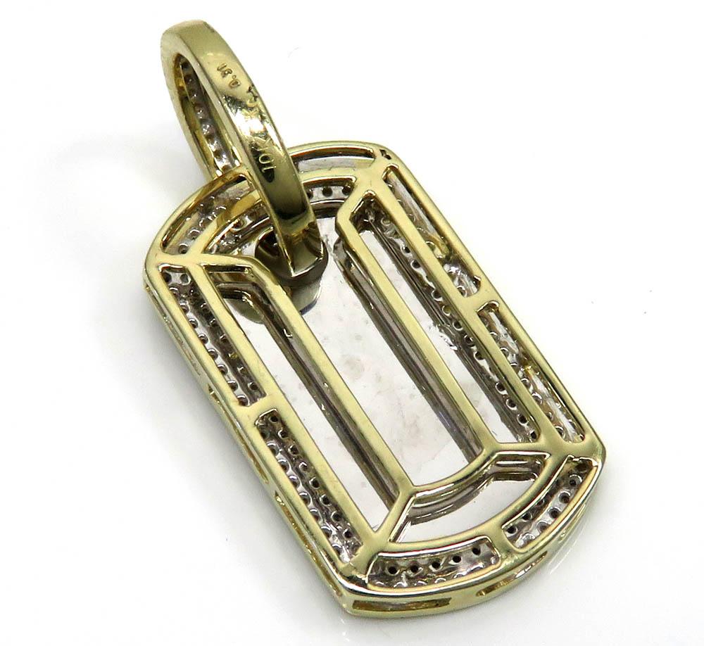 10k yellow gold 2 row round diamond mini dog tag pendant 0.31ct