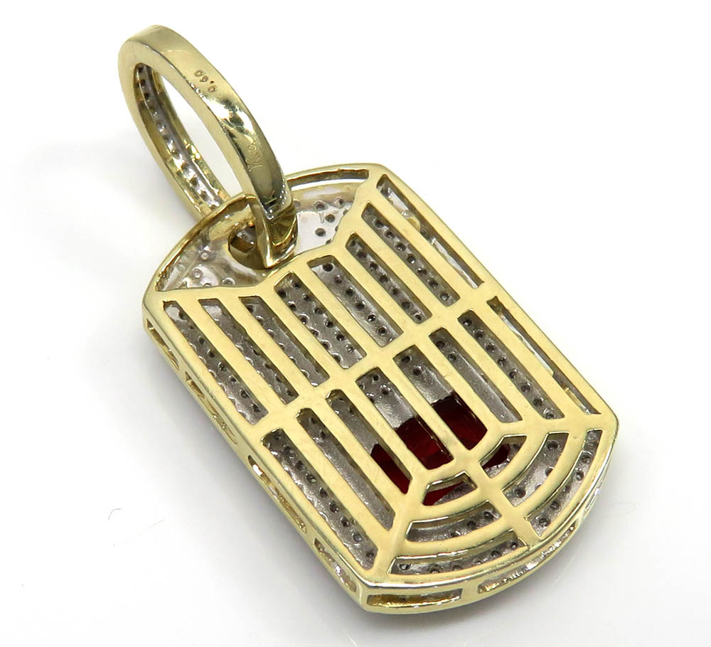 10k yellow gold red ruby diamond dog tag pendant 0.60ct