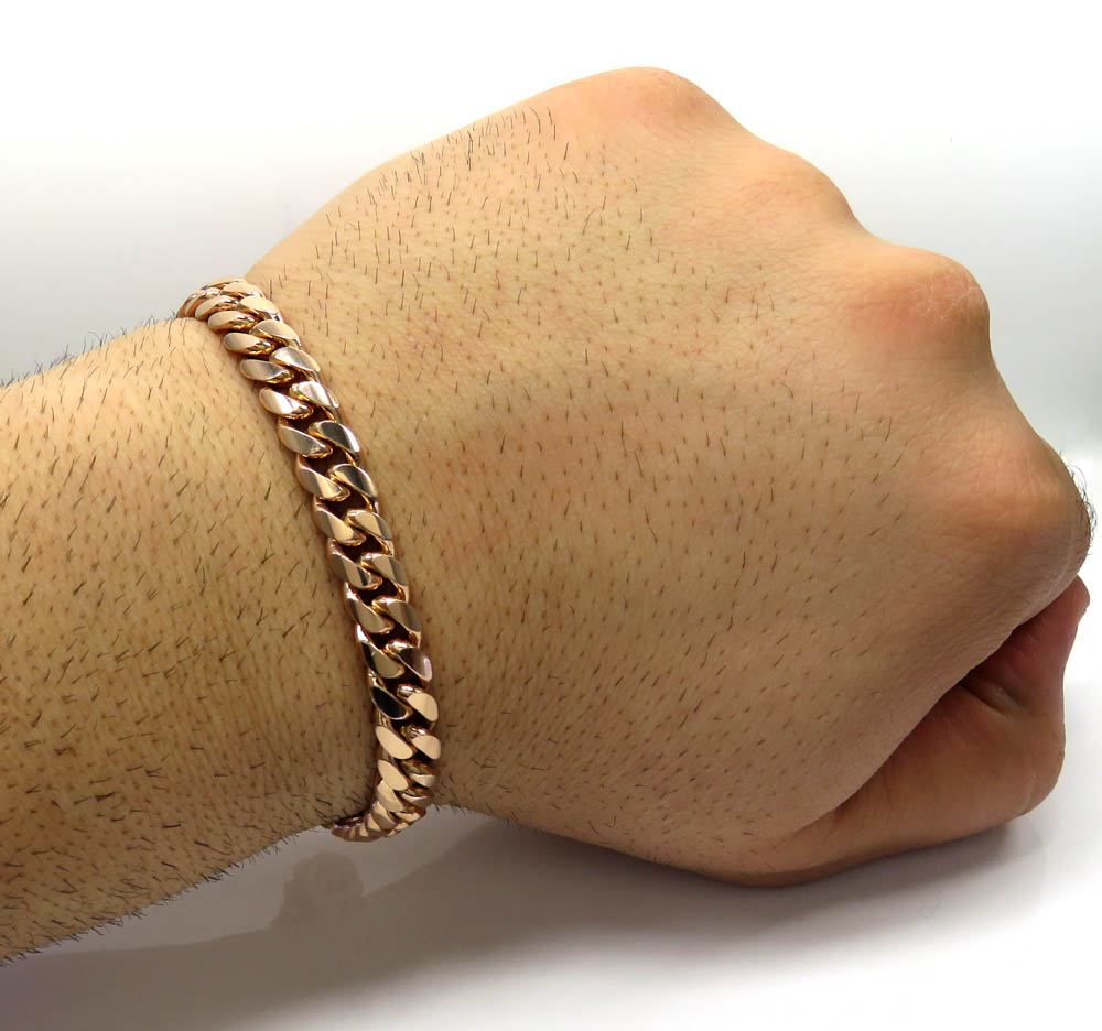 14k rose gold solid miami link bracelet 8.50 inches 8.40mm