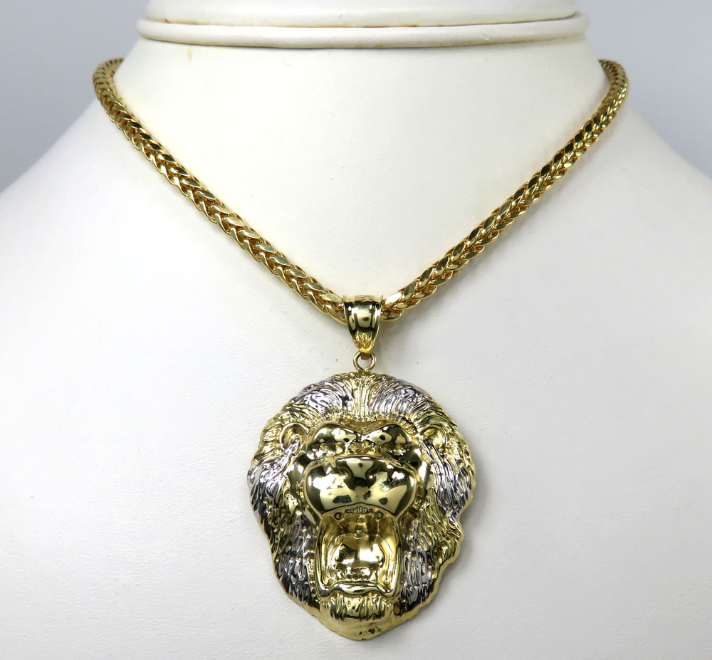 10k yellow gold two tone large 3d lion head pendant