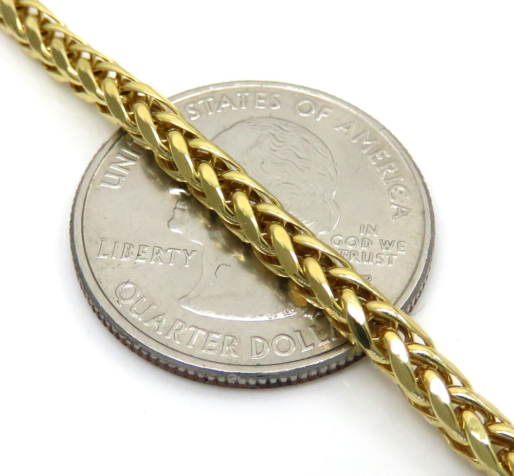 10k yellow gold hollow wheat chain 22