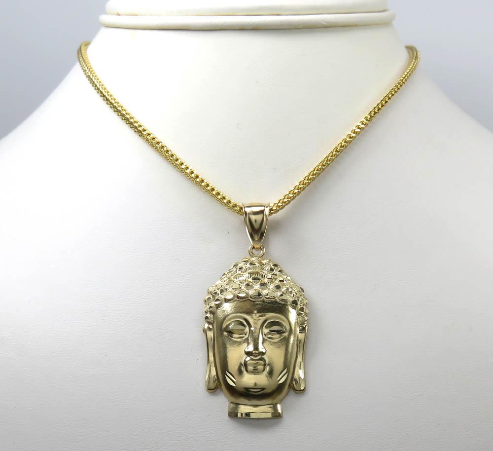 10k yellow gold medium buddha face pendant