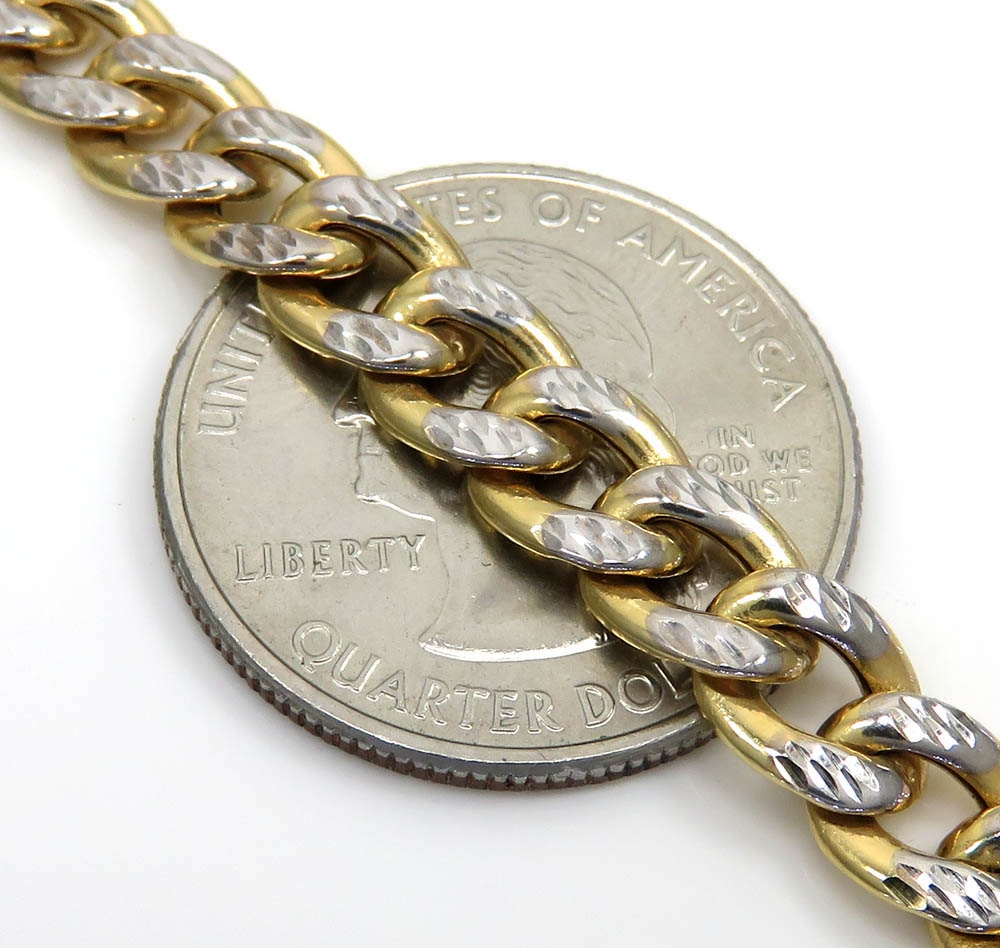 10k yellow gold reversible two tone miami chain 24-26