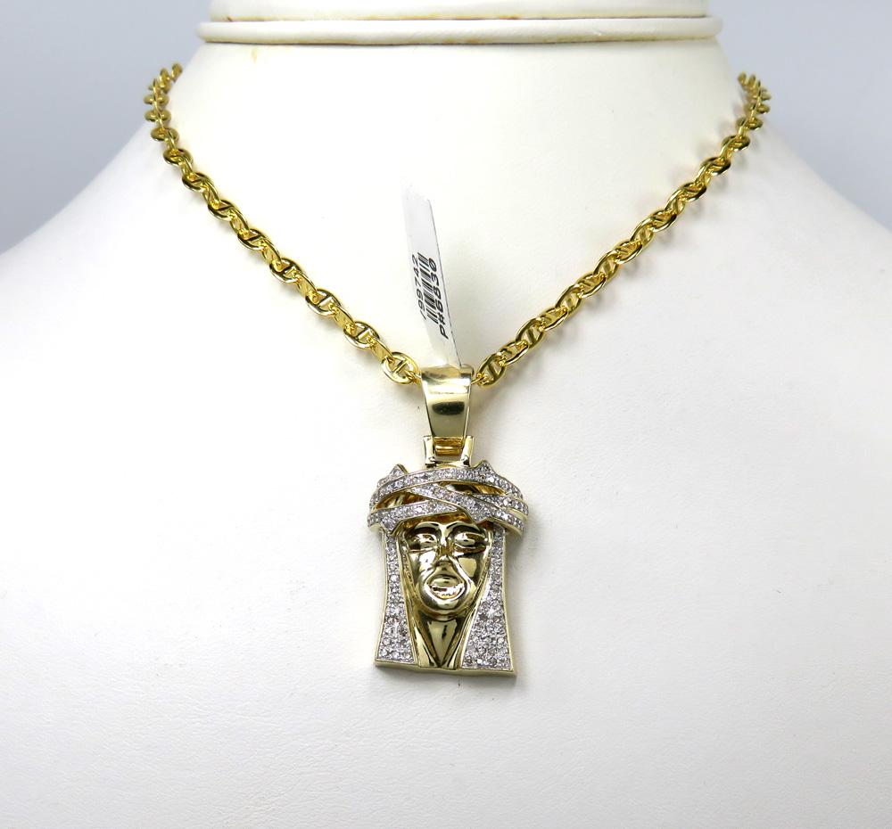 10k yellow gold diamond jesus 3d face pendant 0.70ct