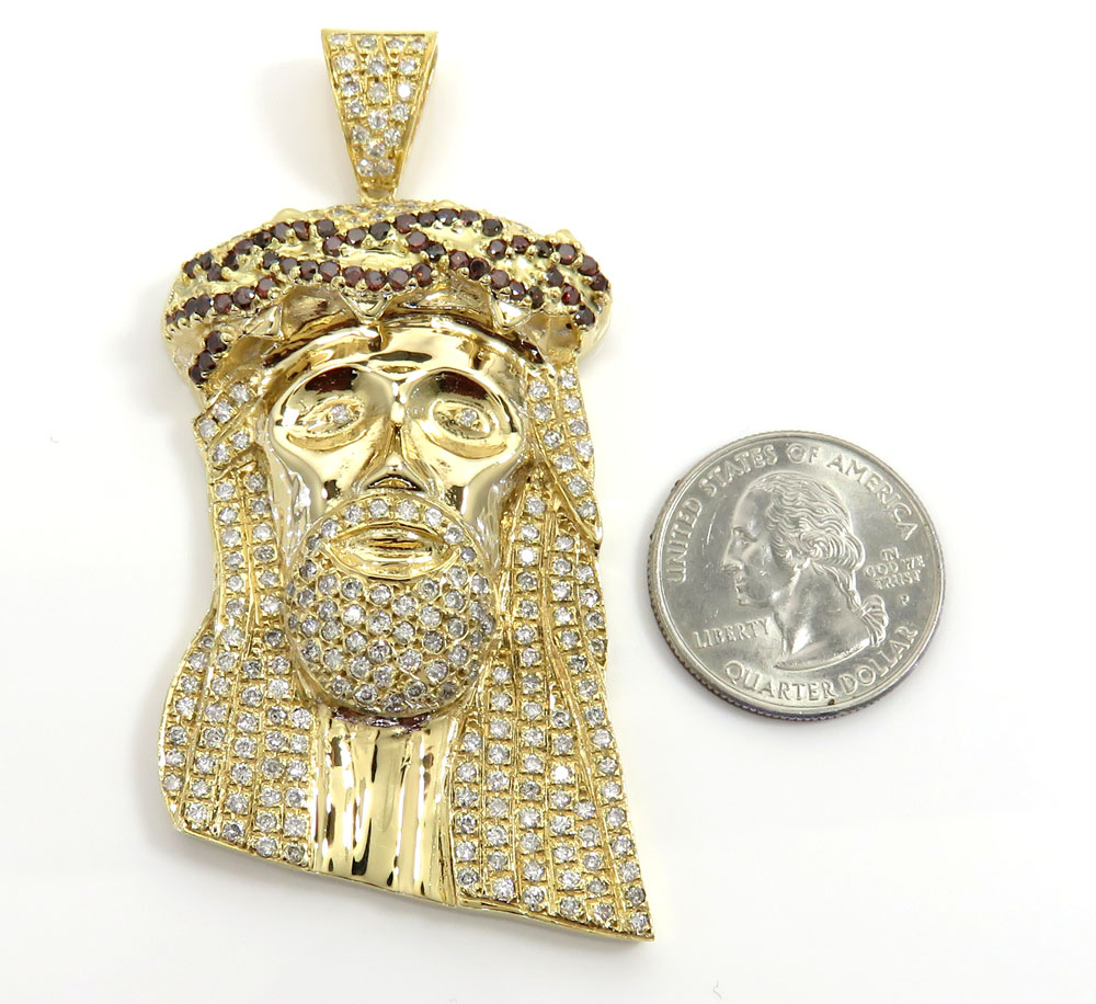14k yellow gold blood crown diamond jesus piece pendant 7.00ct