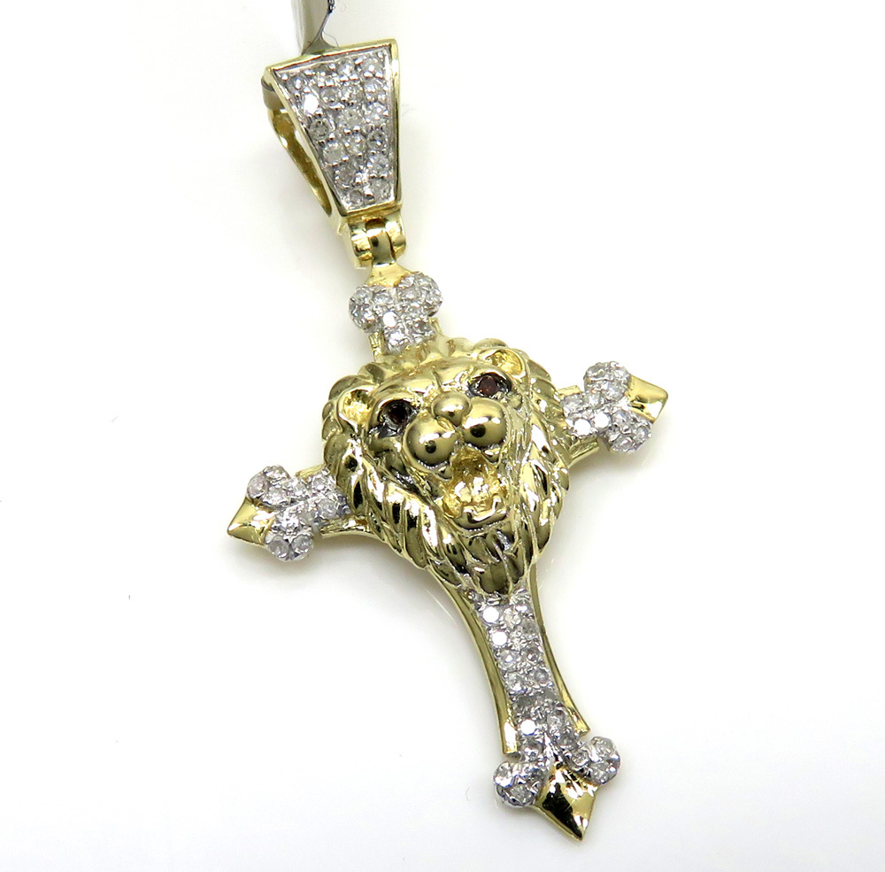 10k yellow gold diamond mini lion head cross pendant 0.22ct
