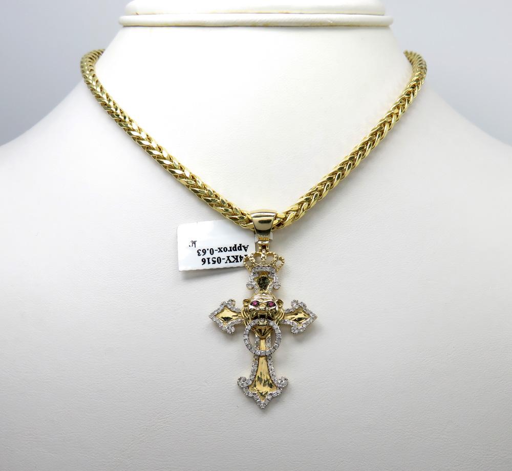 14k yellow gold crown lion head diamond cross pendant 0.63ct