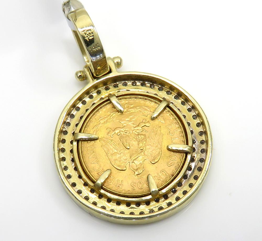 14k yellow gold diamond dos pesos coin pendant 0.52ct