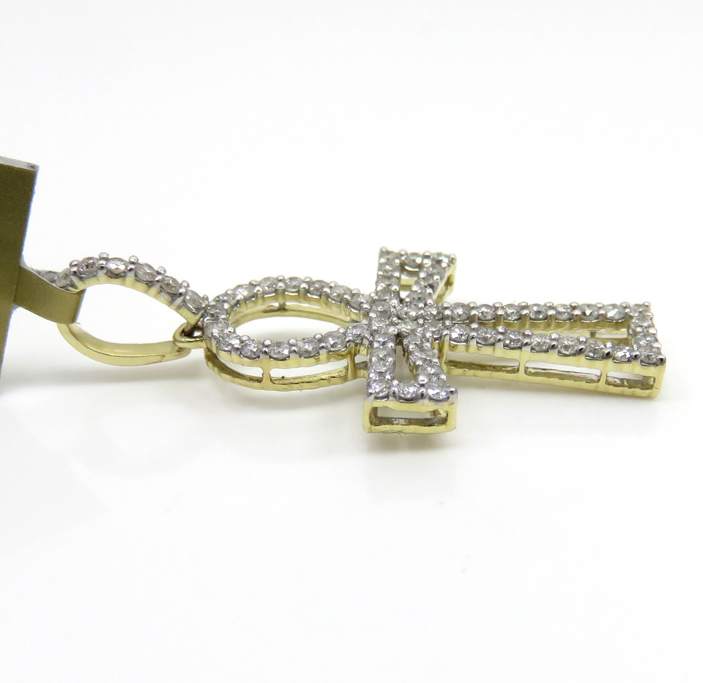 10k yellow gold small outlined diamond ankh cross 0.63ct
