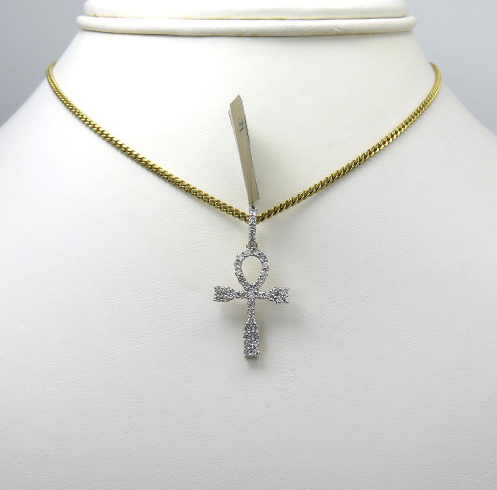 10k yellow gold small diamond ankh cross 0.51ct