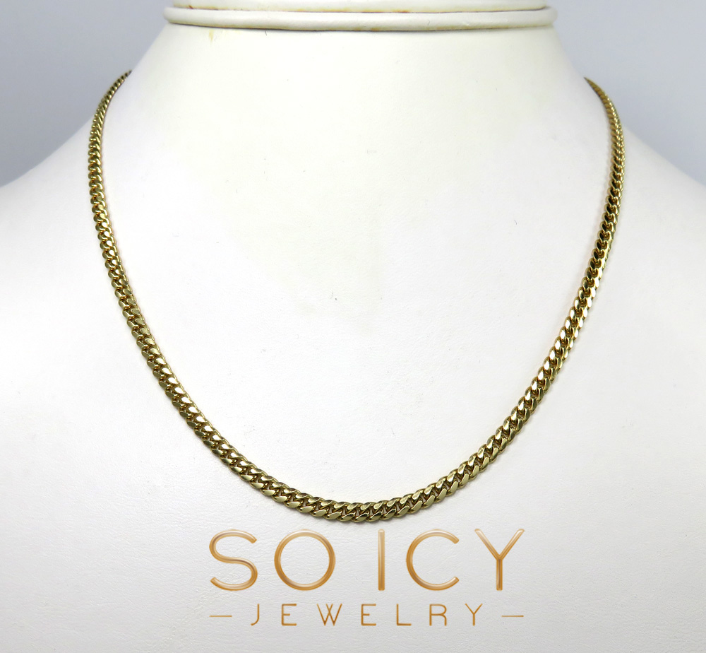 10k yellow gold  solid miami chain 22-26 inch 3.3mm