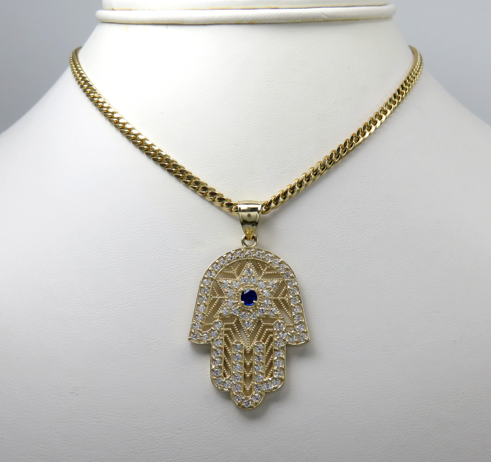10k yellow gold blue cz star of david hamsa pendant 2.00ct