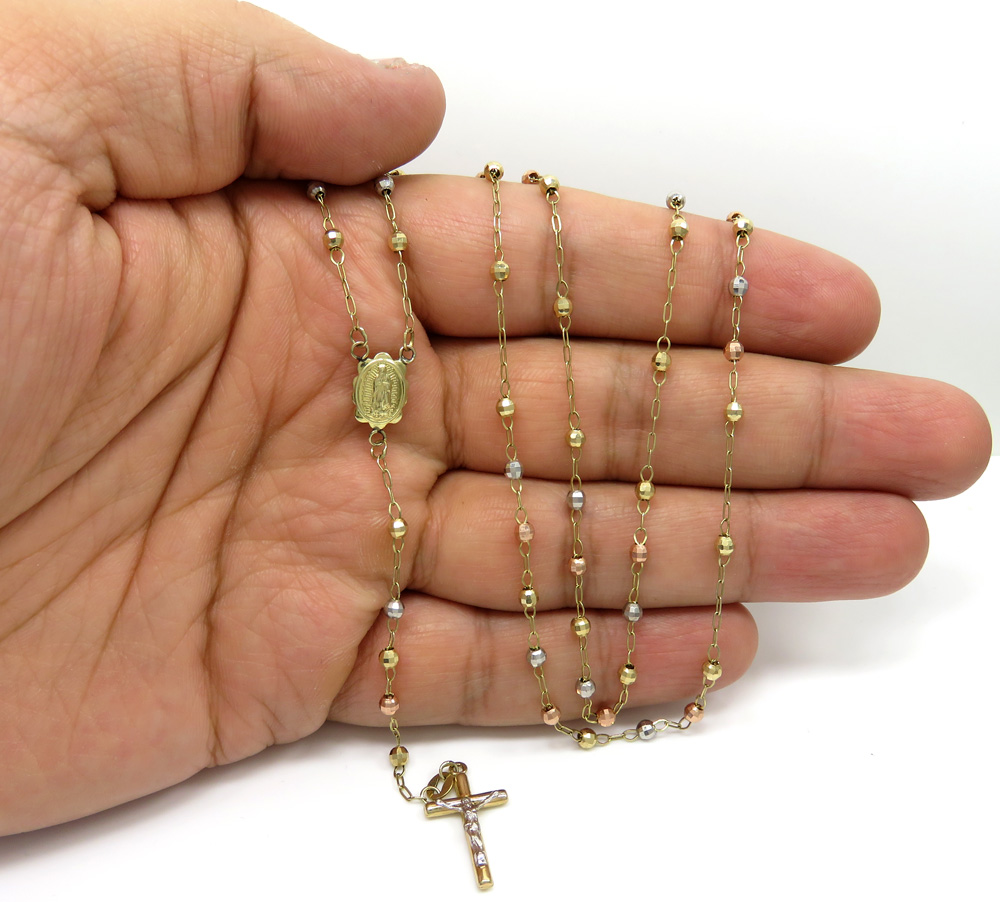 10k yellow gold tri tone disco ball skinny bead rosary chain 24 inch 3 mm