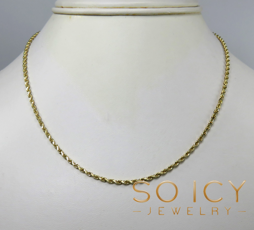 14k yellow gold skinny diamond cut rope chain 16-30 inch 1.70mm