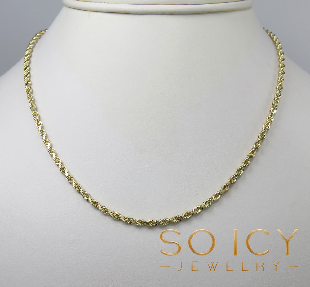 14k yellow gold solid diamond cut rope chain 20-30 inch 2.40mm