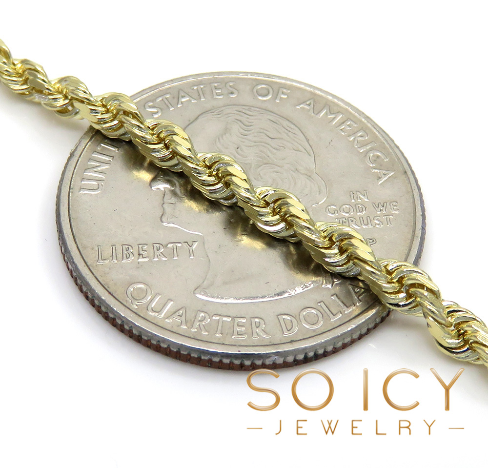 14k yellow gold solid diamond cut rope chain 18-30 inch 3mm
