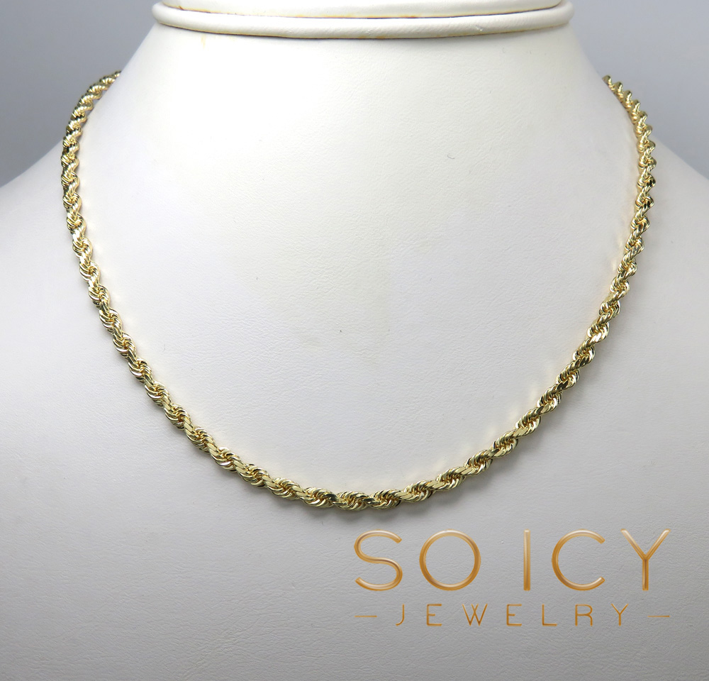 14k yellow gold solid diamond cut rope chain 20-24 inch 3.2mm